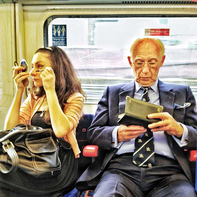 One of a series of 20 iPhone London Underground portraits